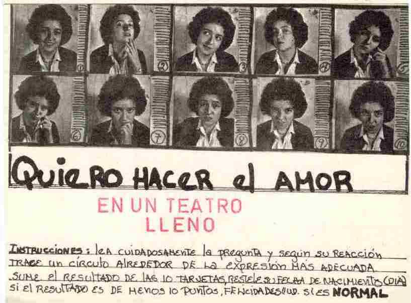 Mónica Mayer, Quiero hacer el amor, postales, 1978.