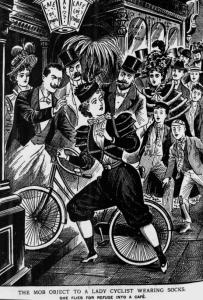 Dibujo publicado en The Illustrate Police News acompañando a una noticia sobre un incidente de una ciclista vestida con pantalón que tuvo que refugiarse en un café en París ante el acoso de los transeúntes.