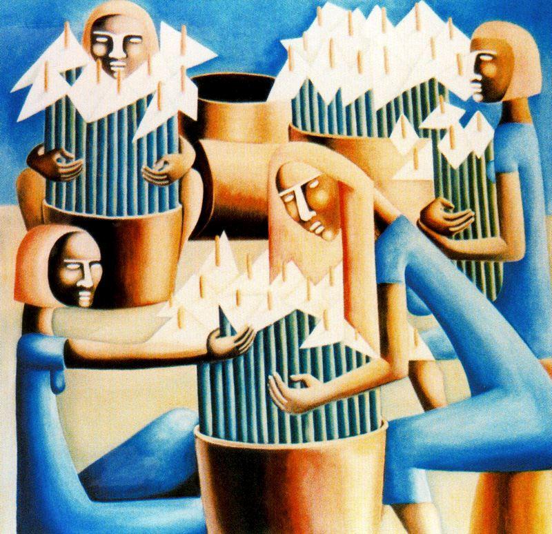 Jane Millares, Las calas, 1985. Óleo lienzo. Colección FULPGC