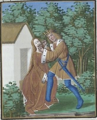 Tereo cortándole la lengua a Filomela. Ovidio, Le Bible des poetes, Metamorphose, Verard, 1493. Biblioteca Nacional de Francia. París.